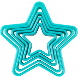 SET OF 5 PLASTIC COOKIE CUTTERS- STAR
