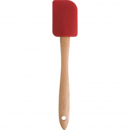 """RED SILICONE AND BEECHWOOD SPATULA 12"""""""