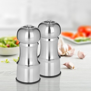 "Trudeau 4.5"" SALT & PEPPER SHAKERS STAINLESS STEEL FINISH"