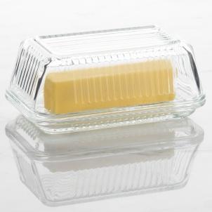 Trudeau Linea Glass Butter Dish W/lid - Gift Box