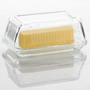 Trudeau Linea Glass Butter Dish W/lid - Gift Box