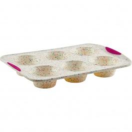Moule à 6 jumbo muffins Structure Silicone™ Confetti Blanc