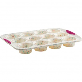 STRUCTURE SILICONE™ WHITE CONFETTI 12-COUNT MUFFIN PAN