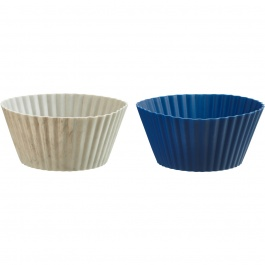 SET OF 24 MINI SILICONE MUFFIN CUPS BLUE/MARBLE
