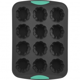 STRUCTURE SILICONE 12CT FLOWER CUPCAKE PAN MINT
