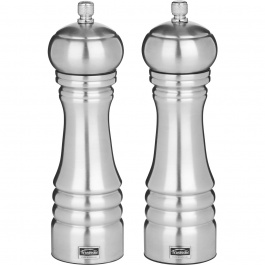 "SET OF 8"" PROFESSIONAL PEPPERMILL & SALTMILL STAINLESS STEEL"