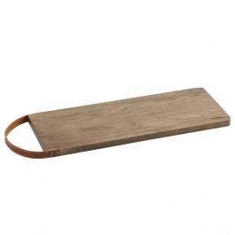 CUTTING BOARD WITH LEATHER HANDLE