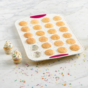 Trudeau STRUCTURE SILICONE™ WHITE CONFETTI 24-COUNT MINI MUFFIN PAN