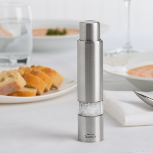 """Trudeau 6"""" ONE-HAND STAINLESS STEEL THUMB SALT MILL"""