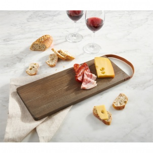 Trudeau CUTTING BOARD WITH LEATHER HANDLE