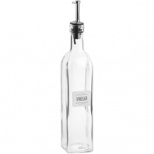 Vinegar bottle with metal plate
