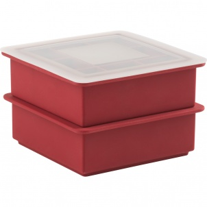 2 SILICONE STACKABLE ICE CUBE TRAYS WITH LIP