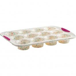 Moule à 12 muffins Structure Silicone™ Confetti Blanc
