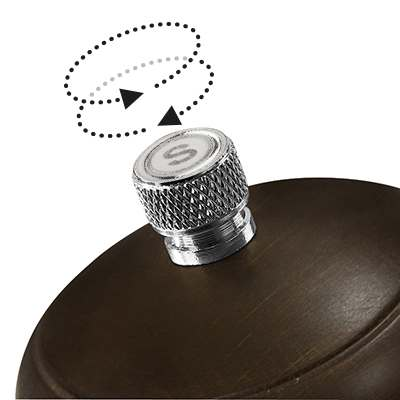 <BR>Adjustable knob - turn the knob clockwise for a finer grind, counter clockwise for coarser grind<BR>