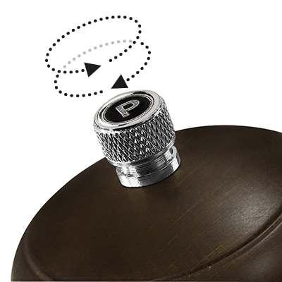 <BR>Adjustable knob - turn the knob clockwise for a finer grind, counter clockwise for coarser grind<BR>