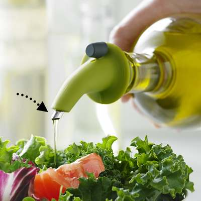 <BR>100% dripless oil pouring spout<BR>