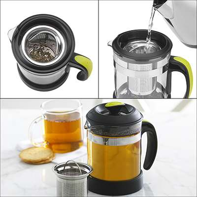 <BR>1 - Add some tea in the infuser basket<BR>2 - Pour hot water over the tea leaves<BR>3 - Place the lid on the tea maker and allow infusing for 2 to 5 minutes<BR>
