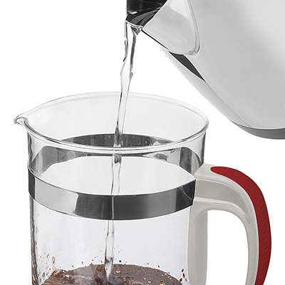 <BR>Pour almost boiling water into the beaker, being careful to keep the water level at least one inch (2.5 cm) from the top of the beak<BR><BR>