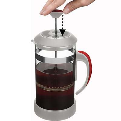 <BR>Place the lid onto the beaker with filter assembly fully raised (allow to brew for 3 to 5 minutes depending on your personal taste).<BR>stop infusion, slowly lower filter assembly to bottom of beaker<BR>