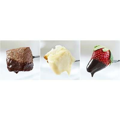 <BR>Ensemble à fondue 3-en-1 : viande, fromage, chocolat