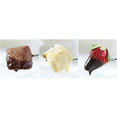 <BR>3-in-1 fondue set :<BR>Meat<BR>Cheese<BR>Chocolate<BR>