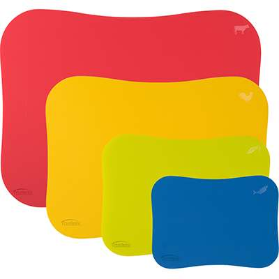 <BR>Each mat is colour and symbol coded to avoid cross-contamination (meat, poultry, vegetables and fish)<BR>