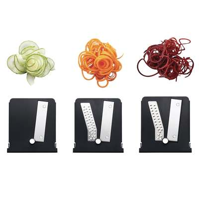 <BR>Three interchangeable blades to create ribbons and noodle cuts